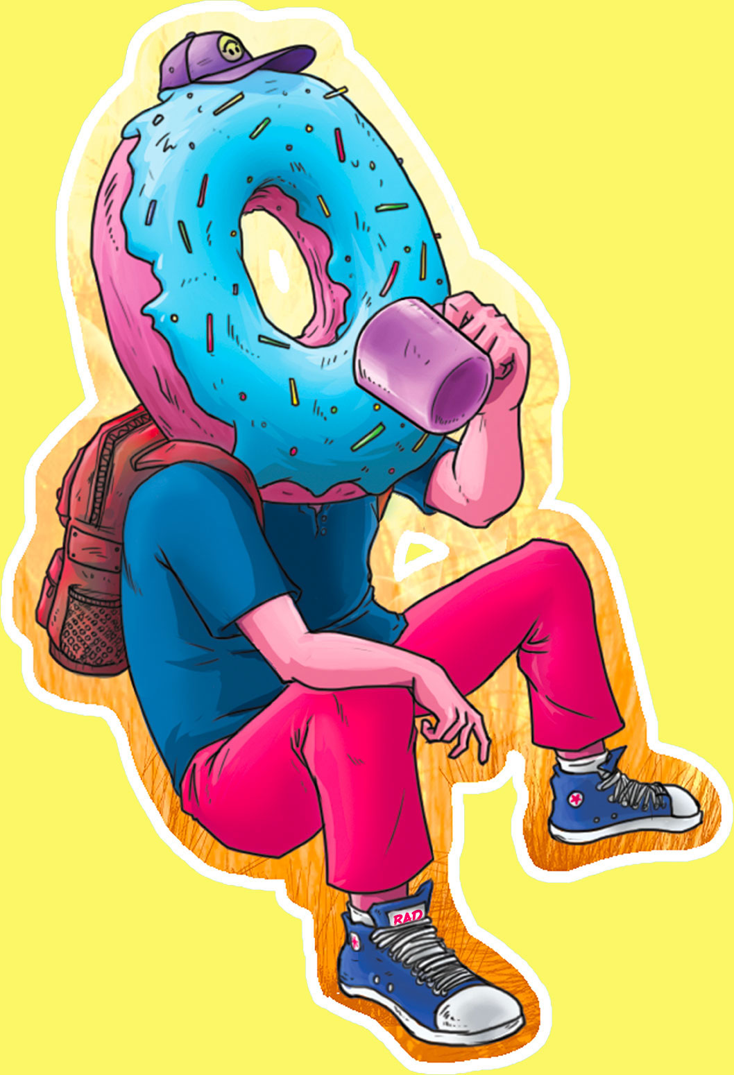 A person with a donut head drinking a cup of coffee.